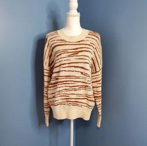 4SIENNA Ivory Brown Zebra Print Crewneck Sweater